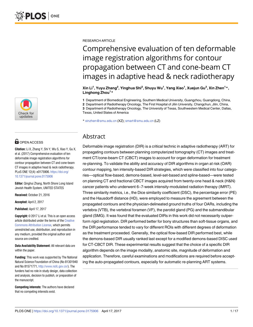 pdf comprehensive evaluation of ten deformable image registration algorithms for contour propagation between ct and cone beam ct images in adaptive head