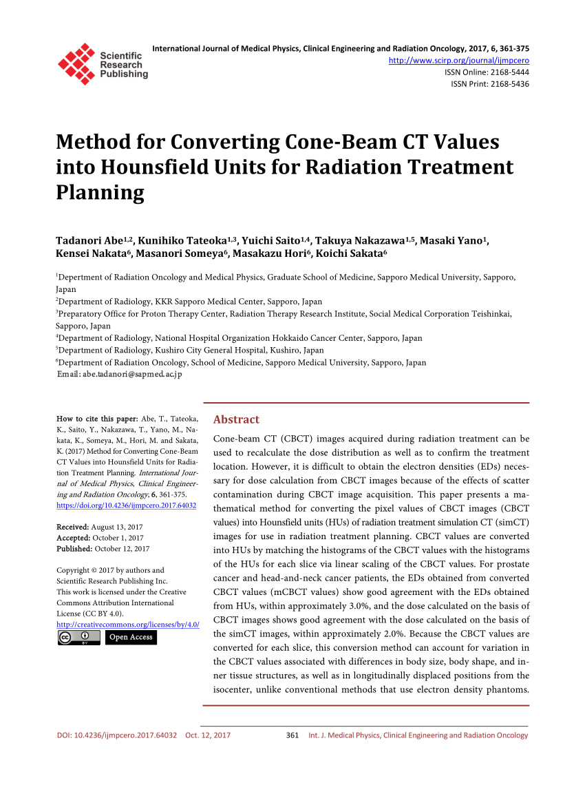 pdf method for converting cone beam ct values into hounsfield units for radiation treatment planning