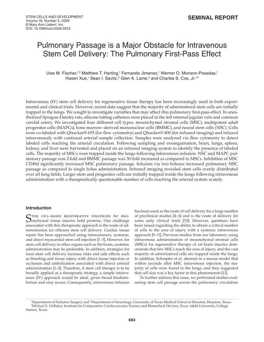 pdf pulmonary passage is a major obstacle for intravenous stem cell delivery the pulmonary first pass effect