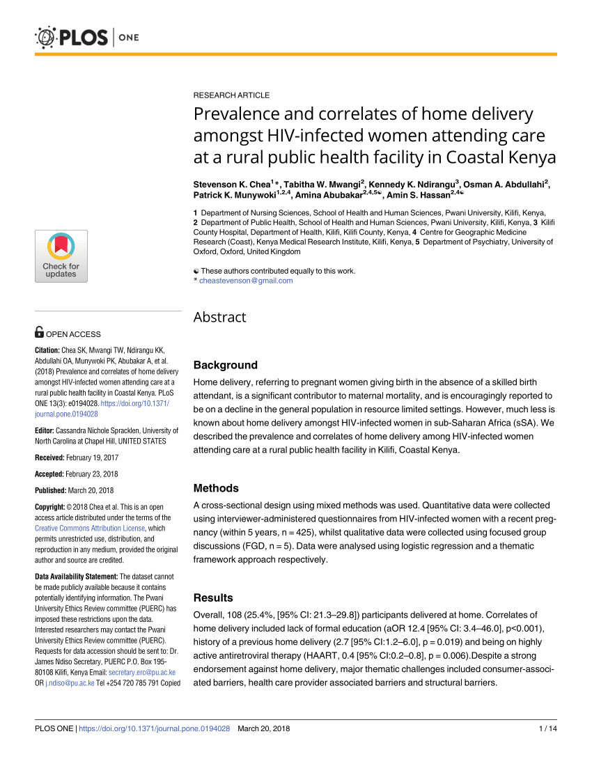 pdf why mothers still deliver at home understanding factors associated with home deliveries and cultural practices in rural coastal kenya