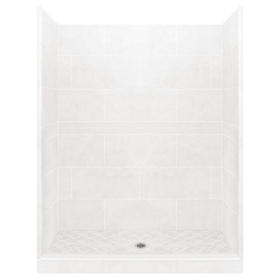 american bath factory monterey light solid surface wall stone composite floor 10 piece alcove shower kit common 36 in x 48 in actual 80 in x