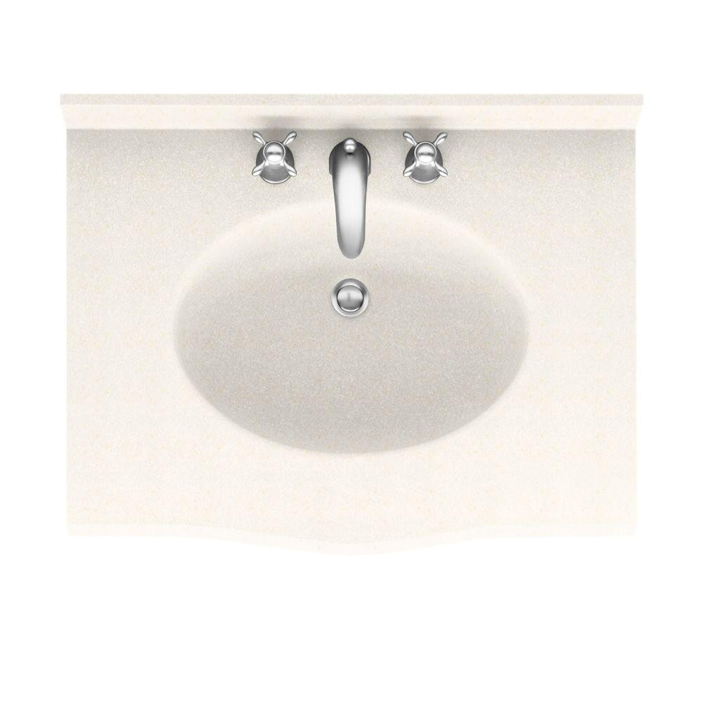 solid surface vanity top with basin in baby s breath