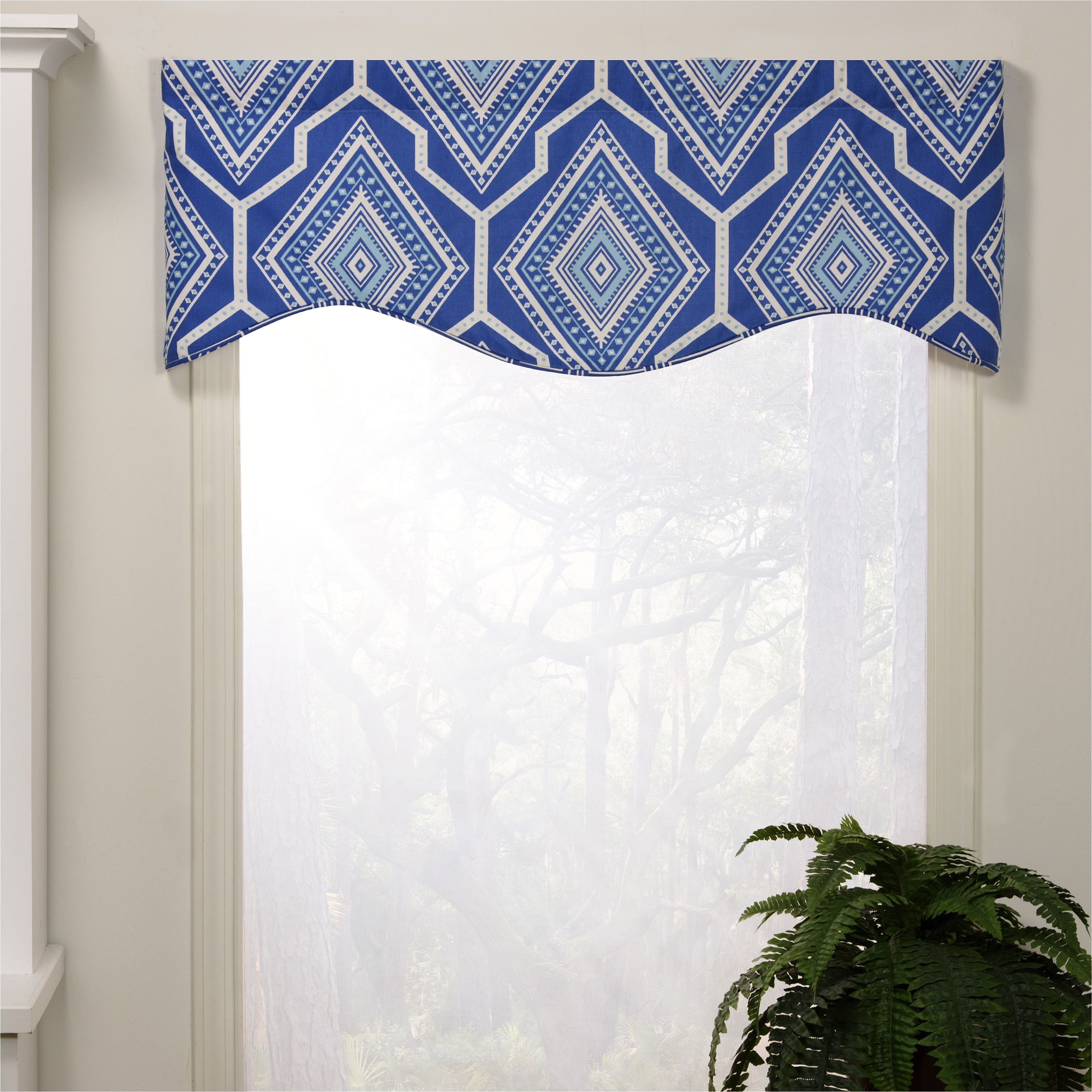 victor bryson shaped valance blue 100 cotton geometric