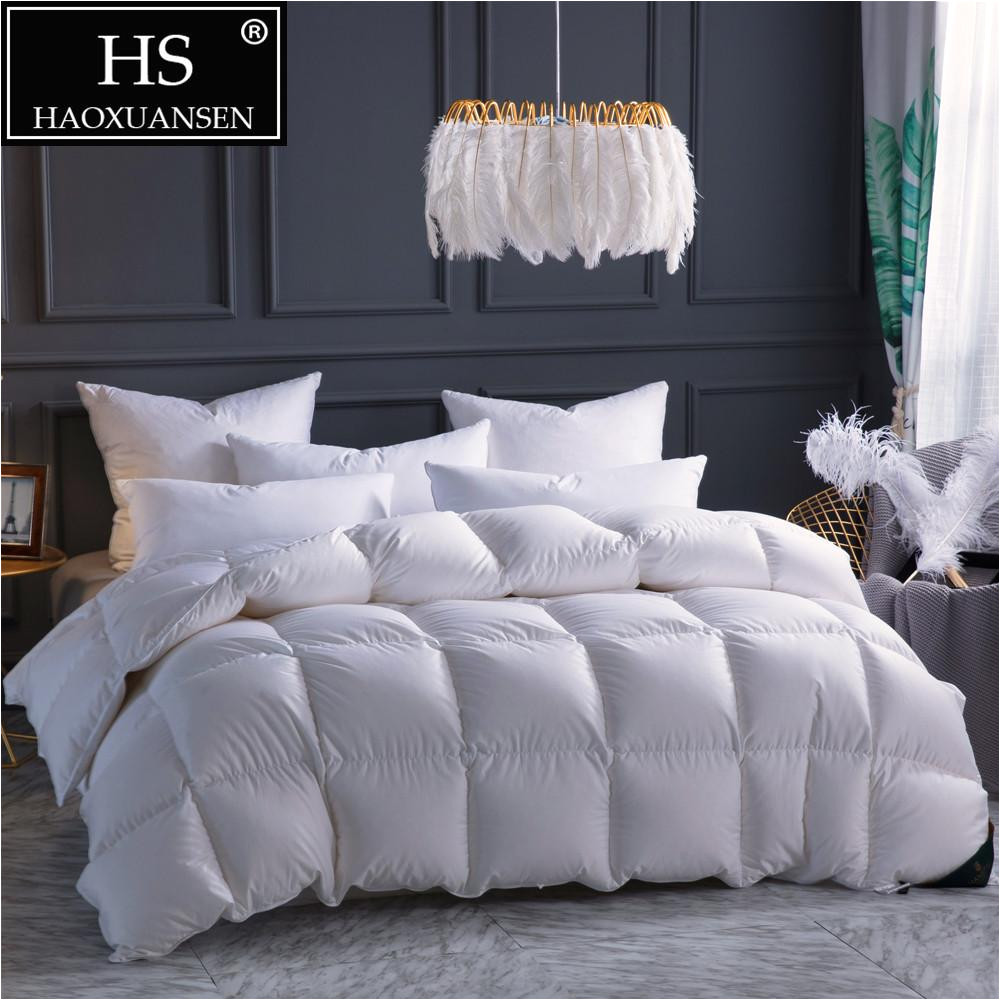 hs filling power 800 high density luxury 100 combed cotton fabric goose down quilt king queen size white duvet winter blanket comforters duvets cheap