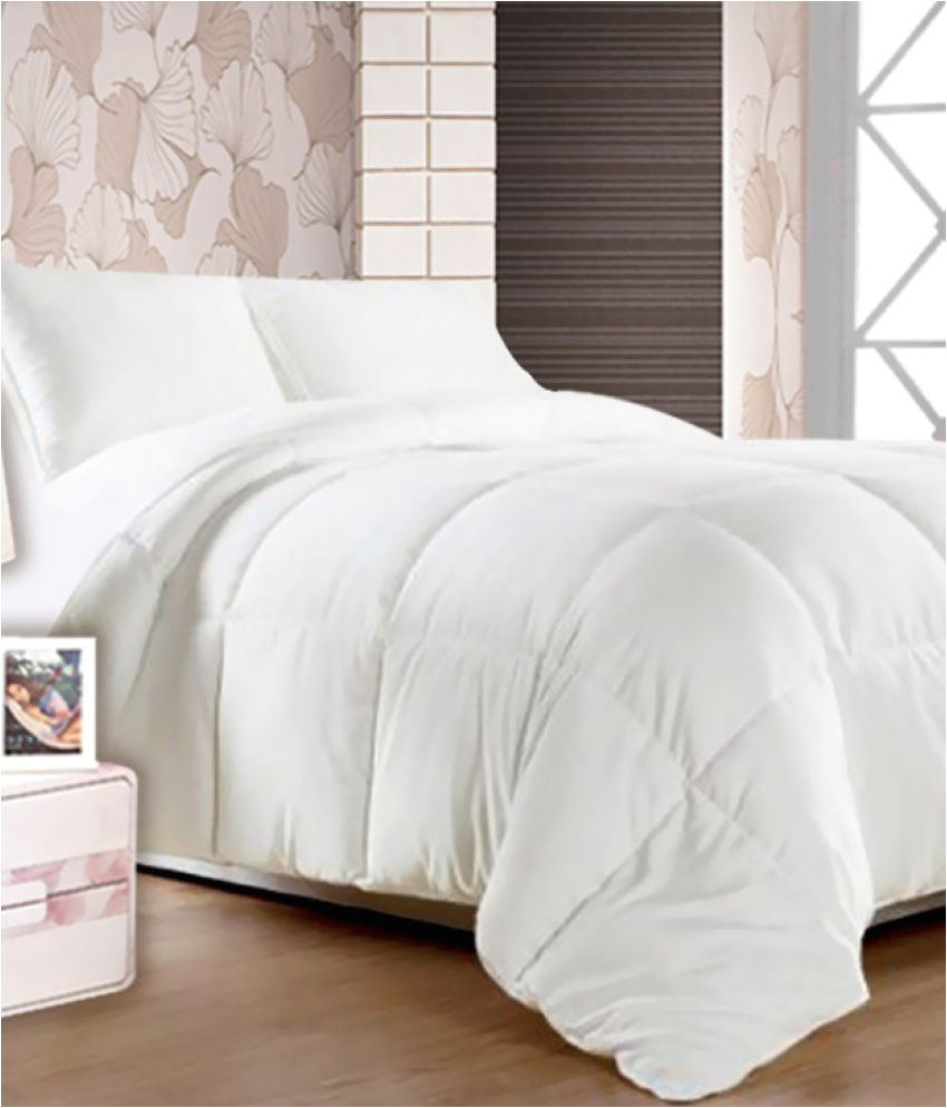 story home double polyester plain white comforter coordinated
