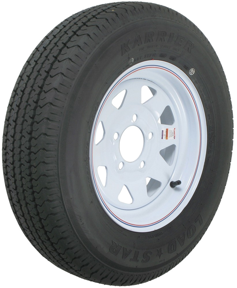 karrier st175 80r13 radial trailer tire with 13 white wheel 5 on 4 1 2 load range d kenda tires and wheels am31985