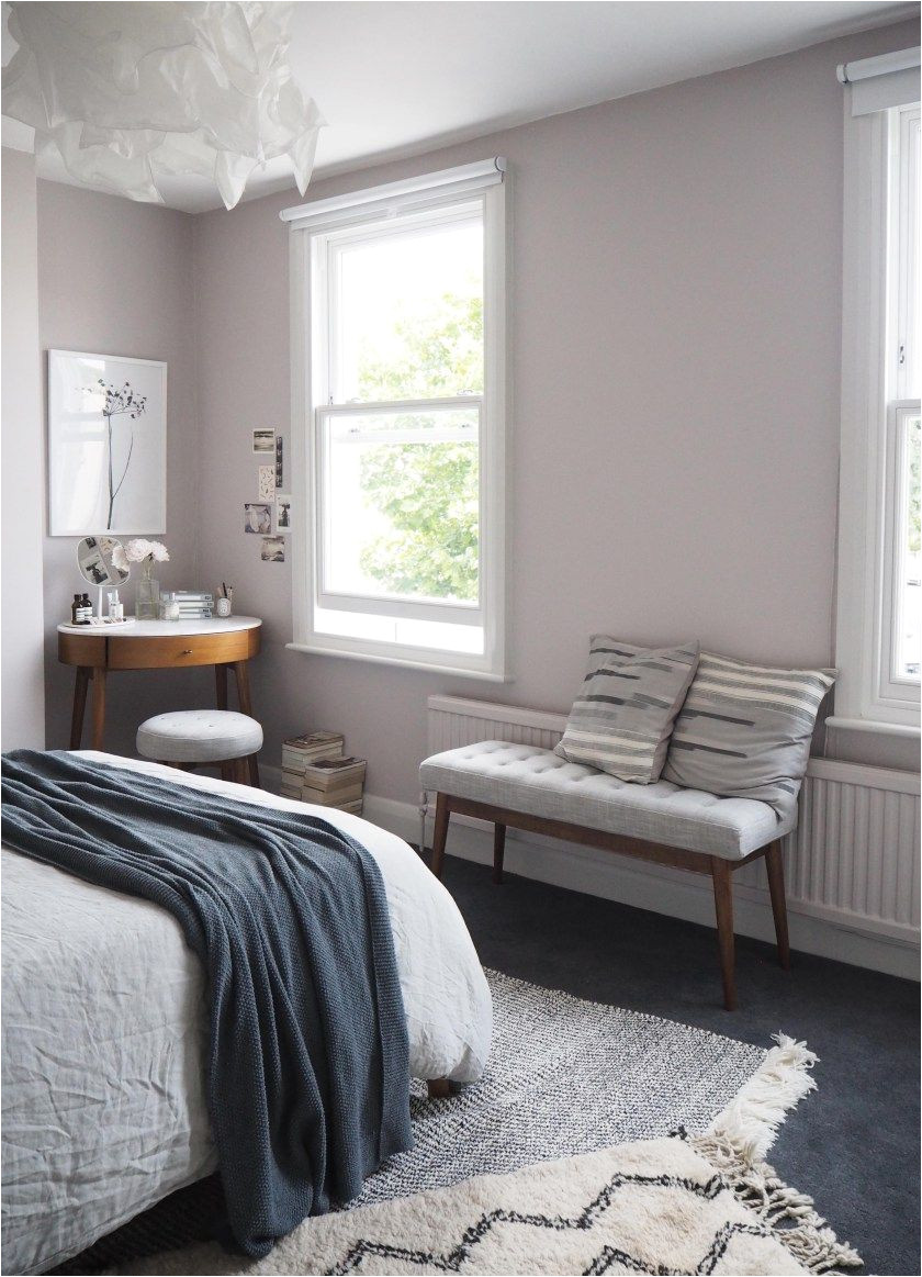 soft blush pink bedroom reveal before after farrow ball peignoir west elm mid century furniture