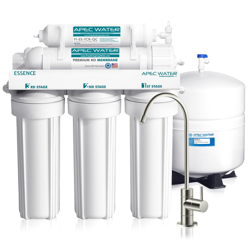 apec water systems essence premium quality 5 stage under sink reverse osmosis drinking water