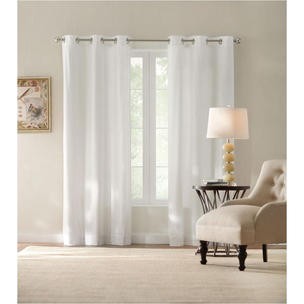 semi opaque white cotton duck grommet curtain