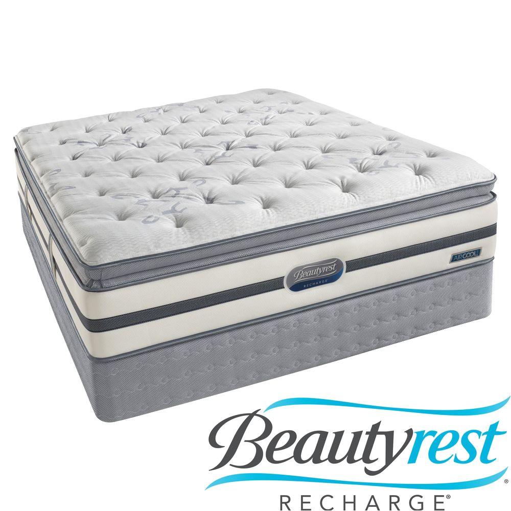 beautyrest recharge maddyn plush pillow top queen size mattress set overstock com shopping the best deals on mattresses
