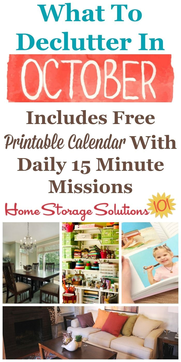 october declutter calendar 15 minute daily missions for month home storage solutionsclutter