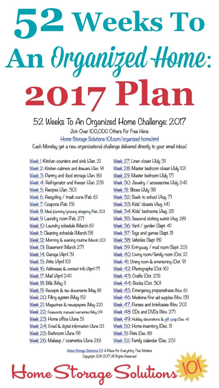 52 weeks to an organized home join the weekly challenges free printable organizing and storage