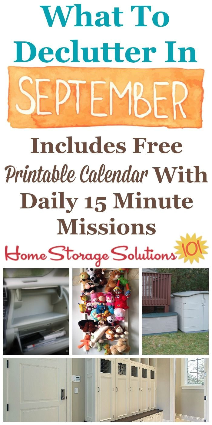 free printable september decluttering calendar with daily 15 minute missions listing exactly what you should