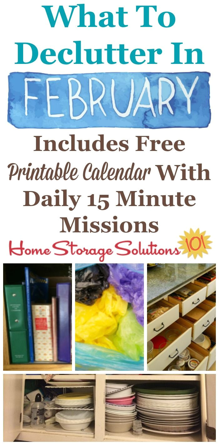 february declutter calendar 15 minute daily missions for month organization stationhome organizationorganizing ideasorganisationorganisingcleaning