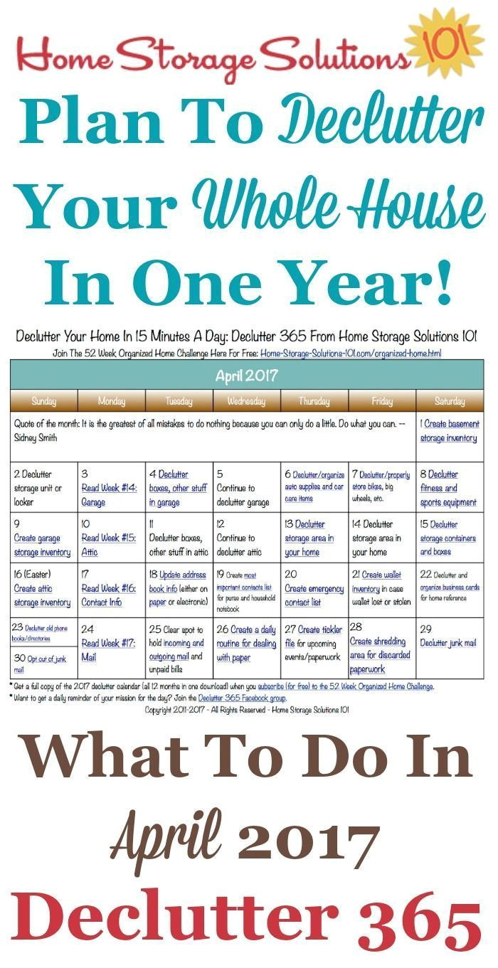 Declutter 365 From Home Storage solutions 101 Free Printable April 2017 Decluttering Calendar with Daily 15 Minute