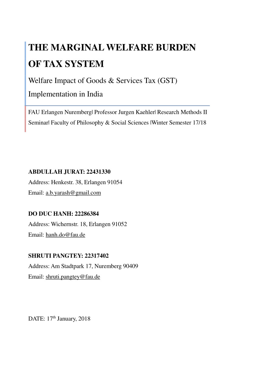 Destin Fl Sales Tax Pdf the Marginal Welfare Burden Of Tax System