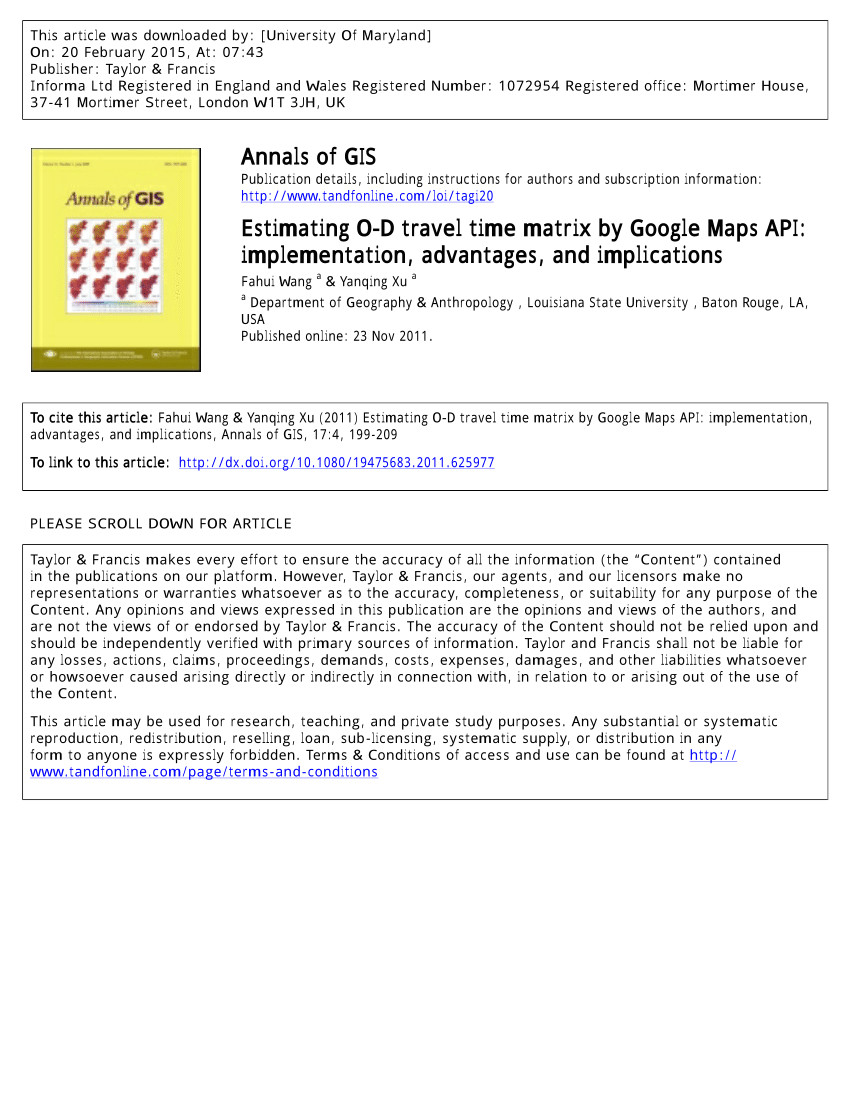 pdf estimating o d travel time matrix by google maps api implementation advantages and implications