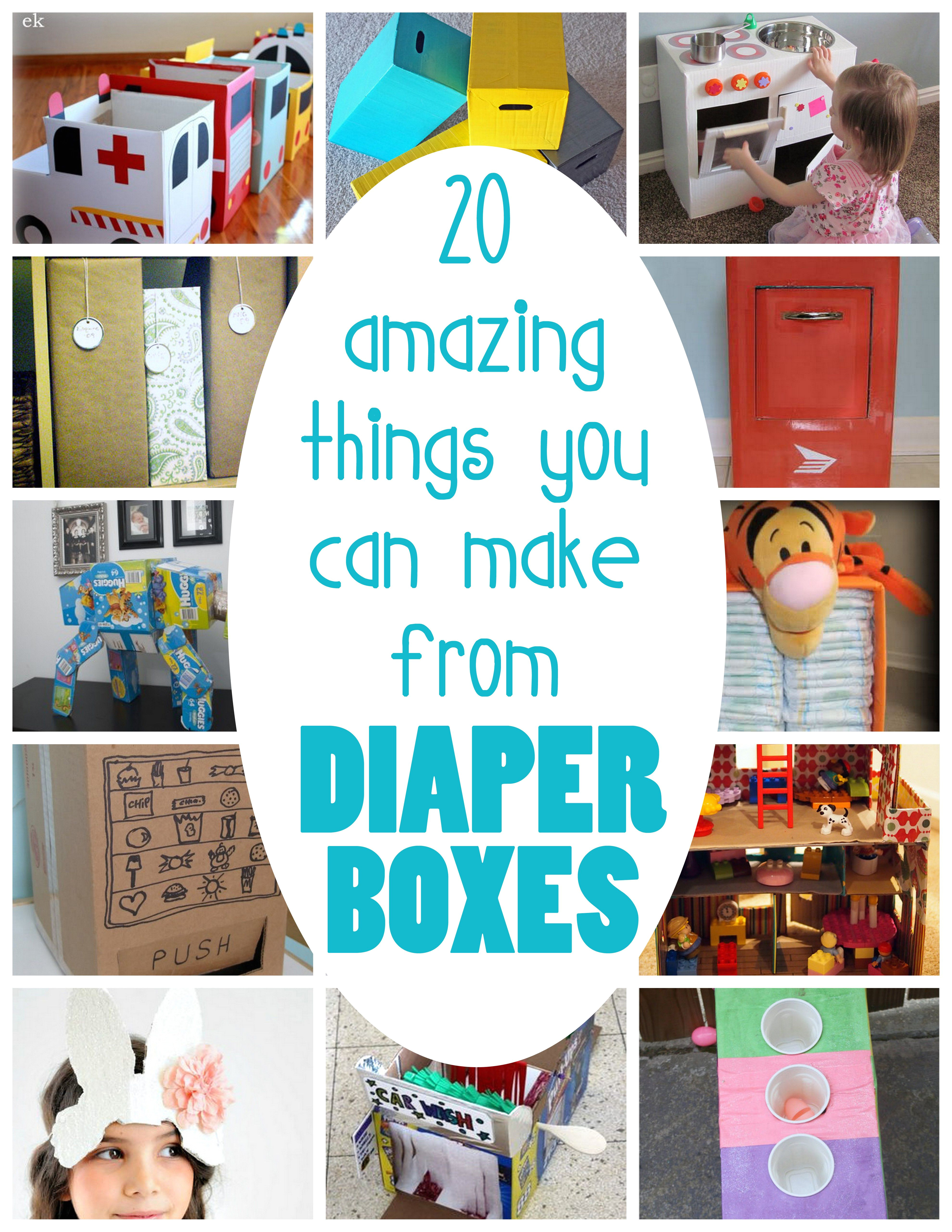 20 clever ways to reuse those sturdy boxes diapers come in i love the vending machine and mailbox especially