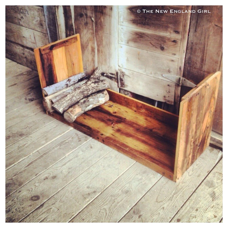 barn board firewood holder