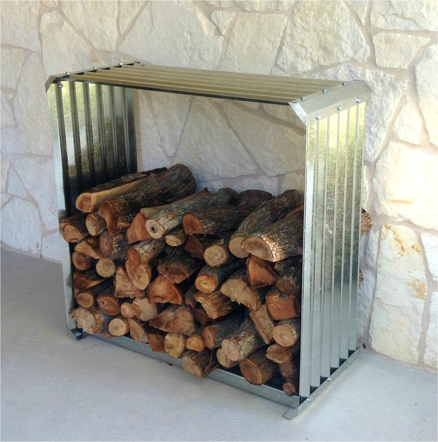 corrugated firewood rack a unique way to store firewood outside your door