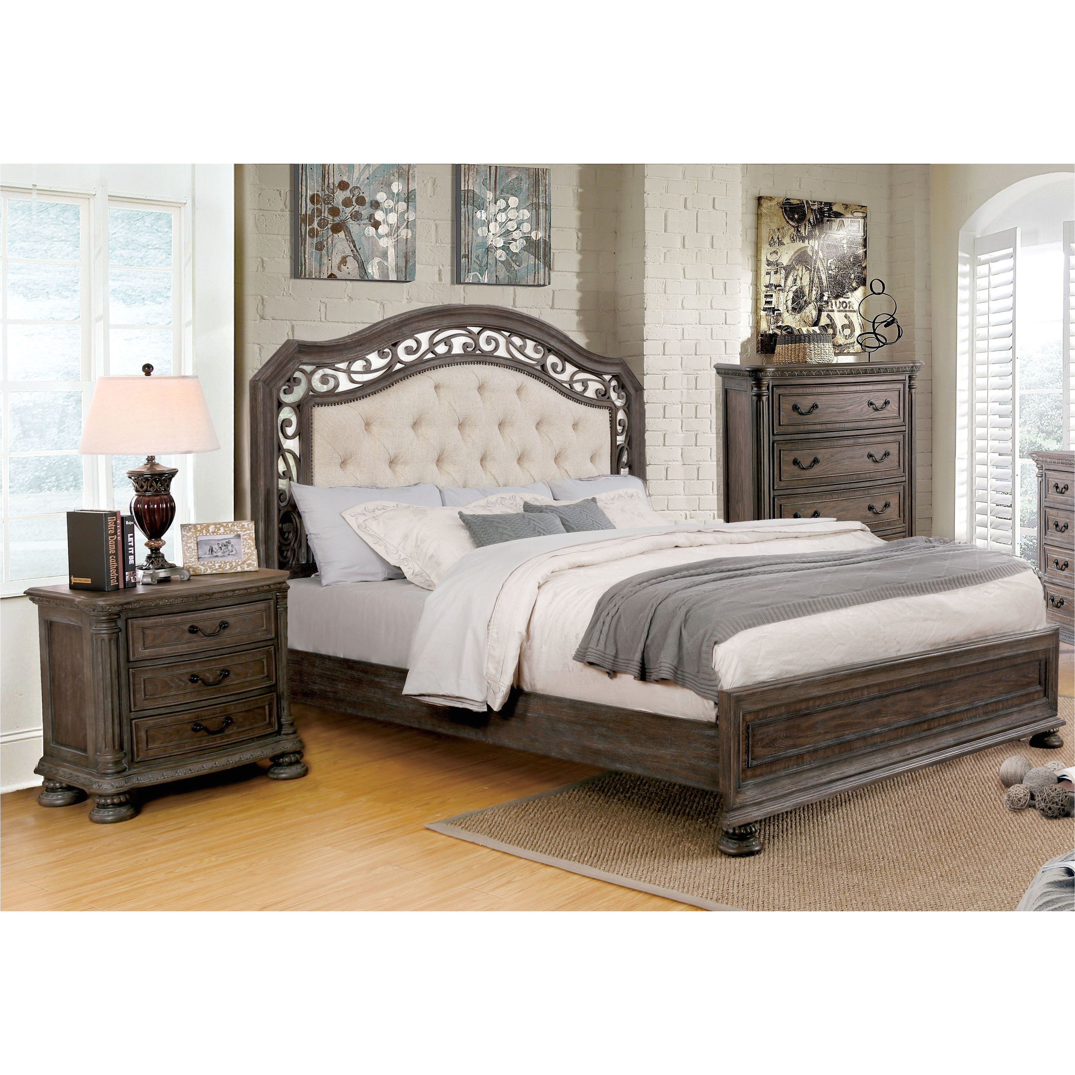 furniture of america brigette ii traditional 3 piece tufted upholstered rustic natural tone bedroom set king size eastern king