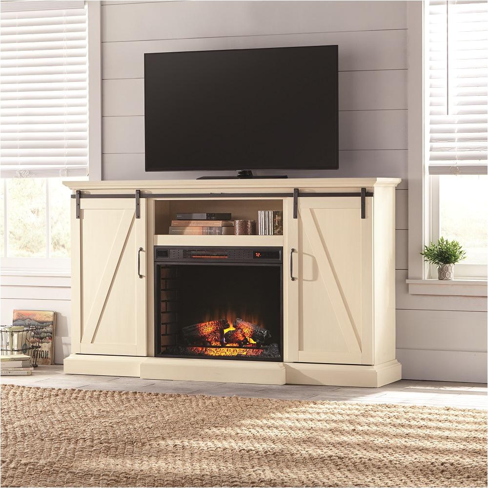 tv stand electric fireplace with sliding barn door in ivory