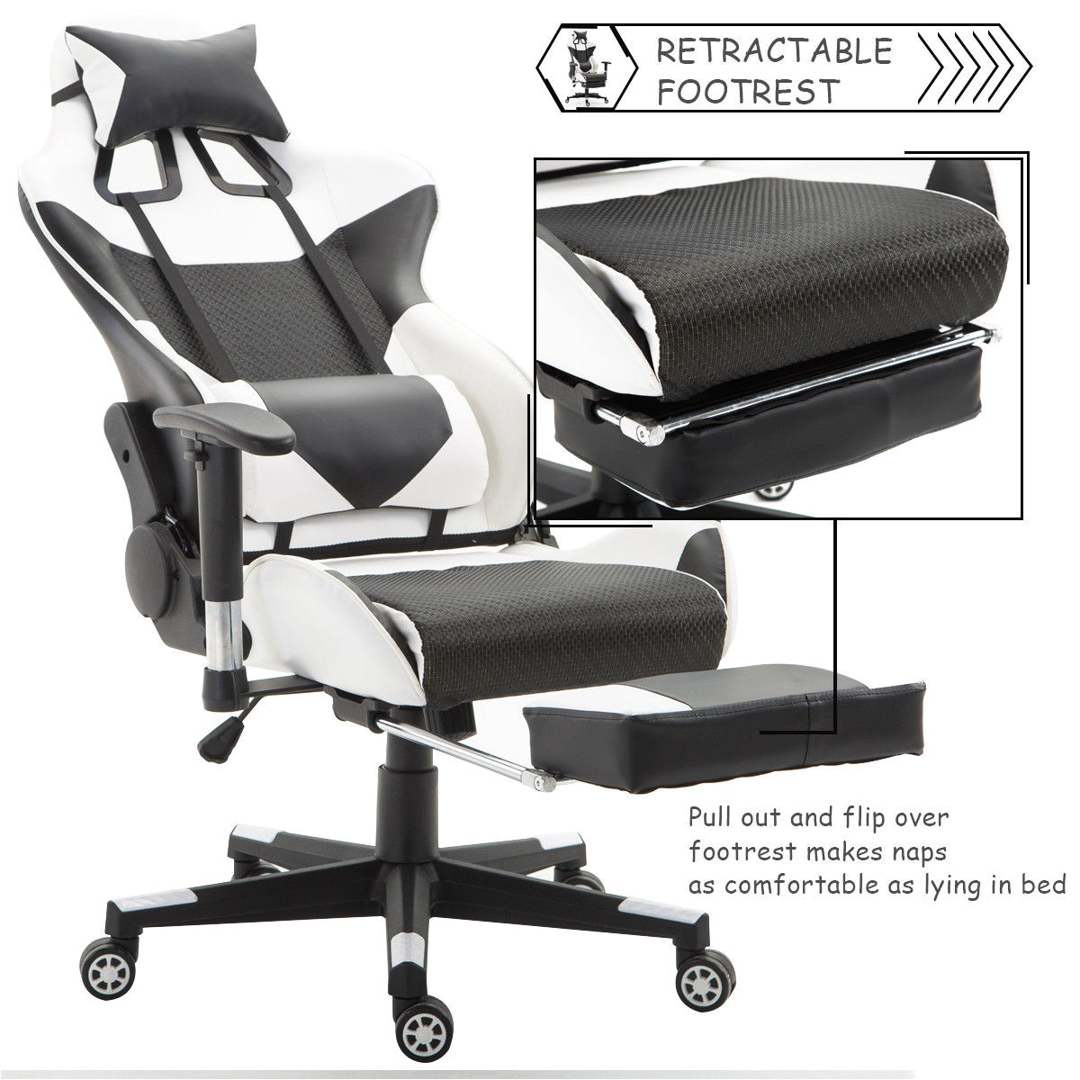 giantex ergonomic adjustable gaming chair modern high back racing office chair with lumbar support footrest hw56576wh in office chairs from furniture on