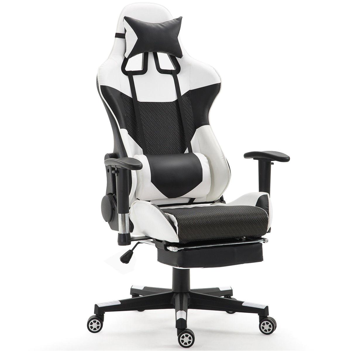 Ergonomic Office Chair with Leg Rest Giantex Ergonomic Adjustable Gaming Chair Modern High Back Racing