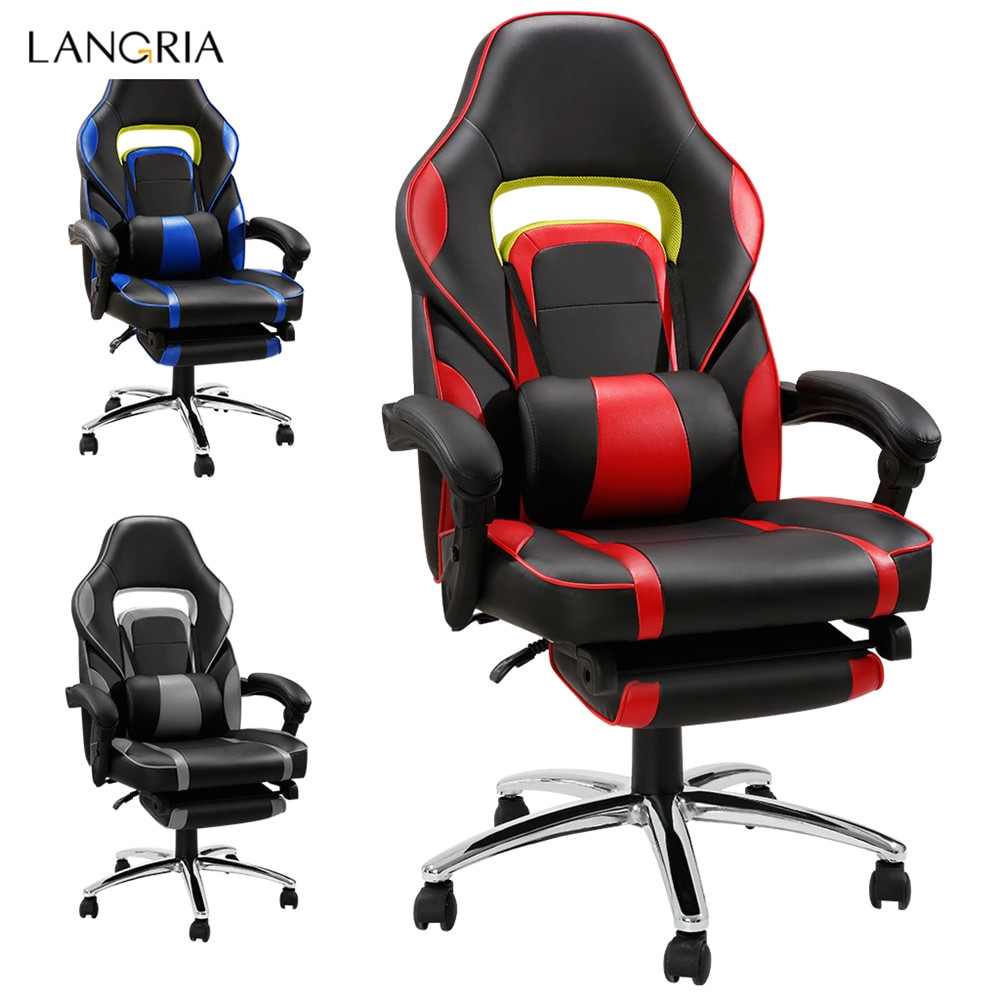 langria adjustable office chair ergonomic high back faux leather racing style reclining computer gaming executive paddedfootrest