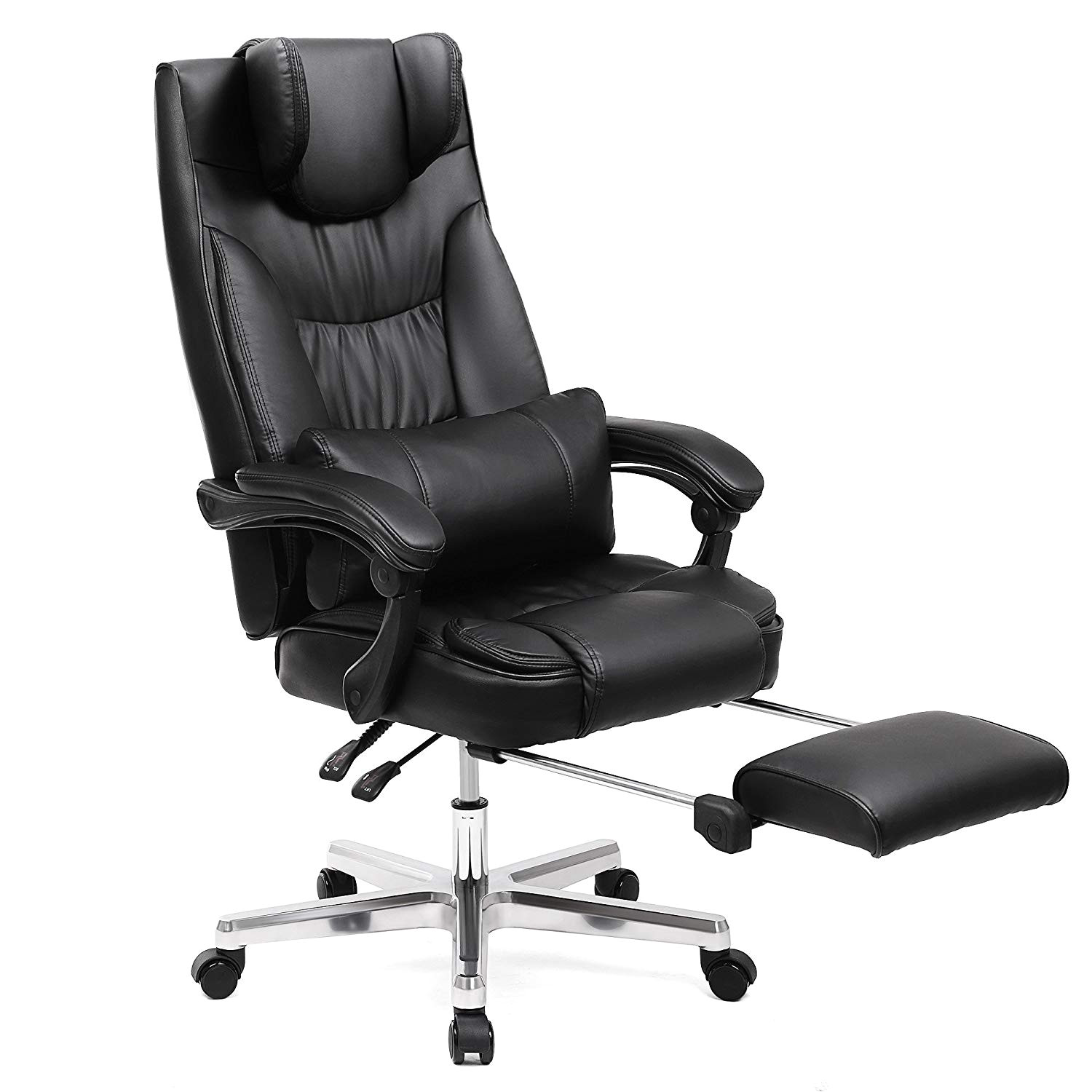songmics ergonomic office chair executive gaming swivel chair with foldable headrest pu extra large black black 75 amazon co uk kitchen home