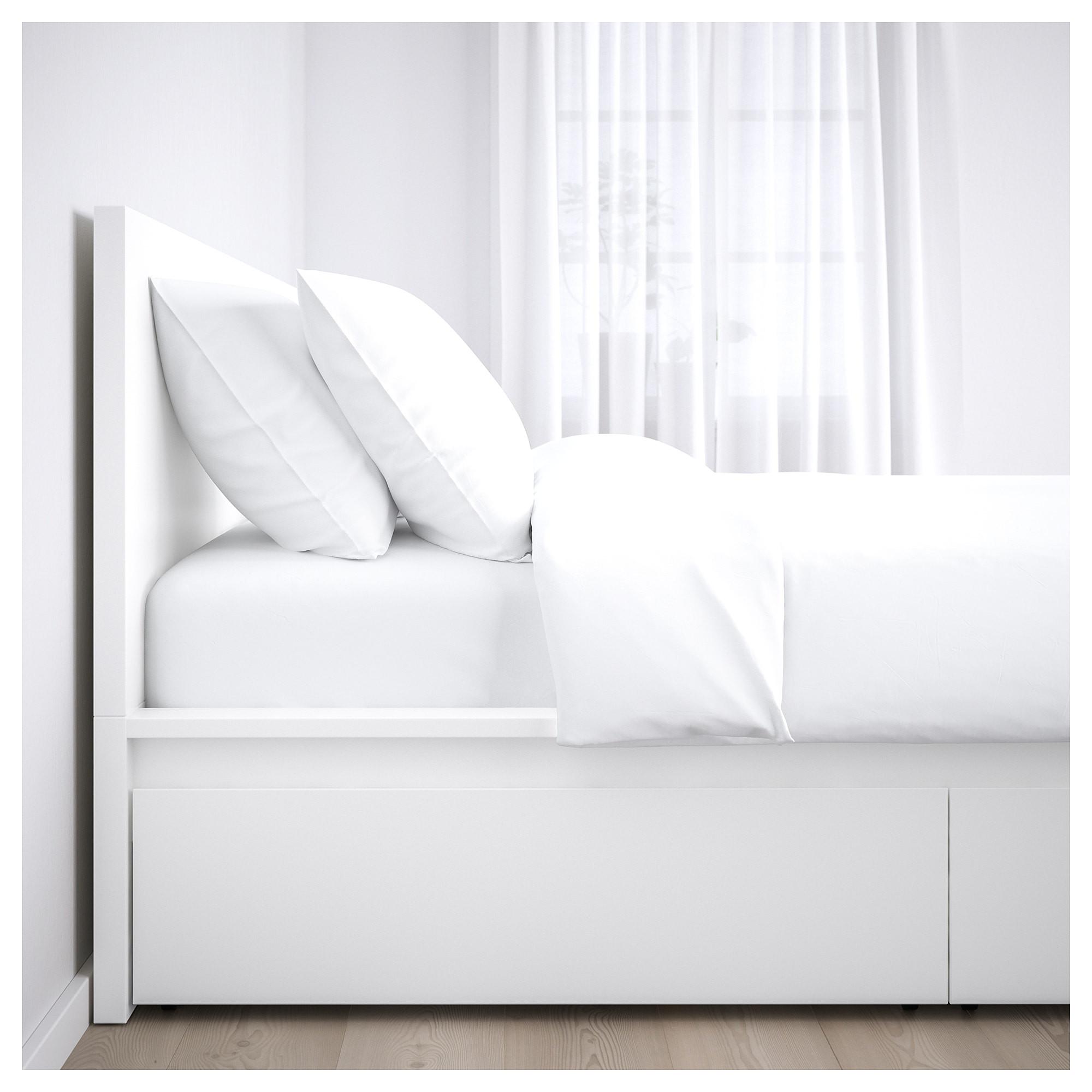 malm bedframe hoog met 4 bedlades 160x200 cm wit ikea