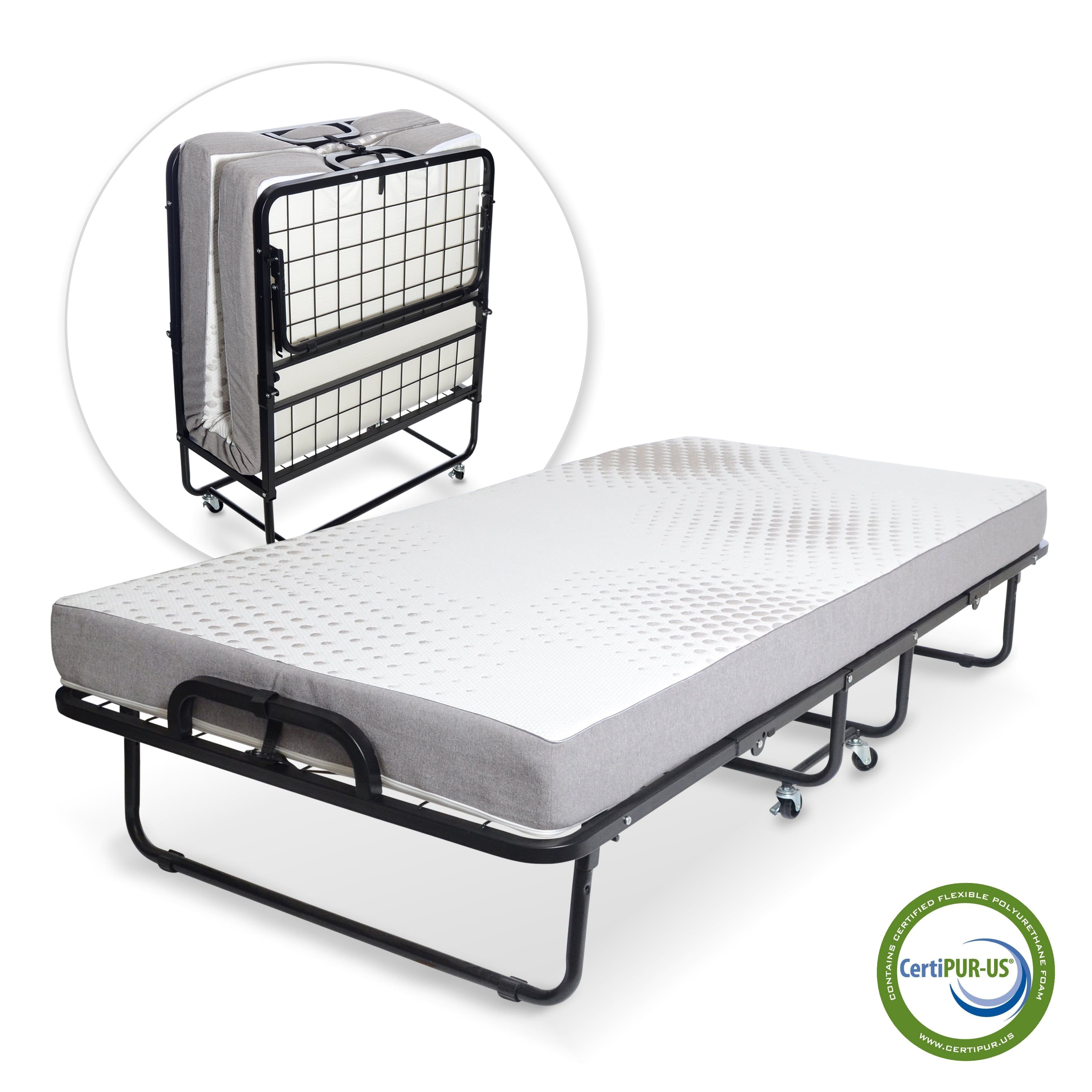 milliard diplomat folding bed twin size with luxurious memory foam mattress and super strong 75 x 38 inch sturdy frame twin memory foam mattress folding