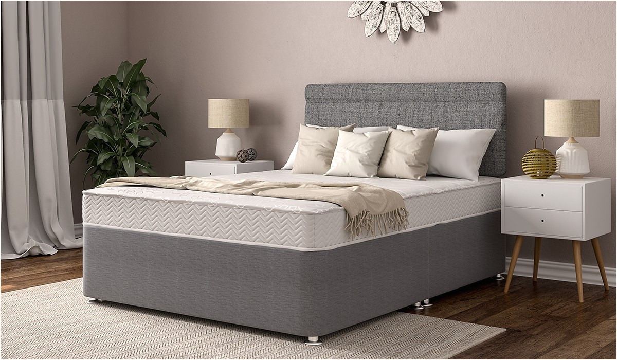 belmont platform top standard double putty grey divan set