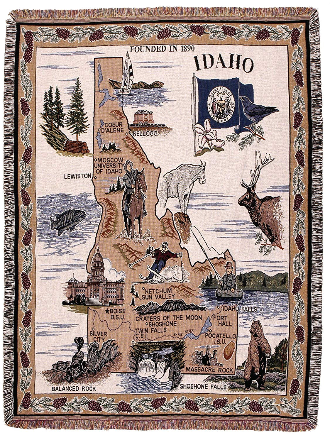 Fabric Shops In Idaho Falls Amazon Com Simply State Of Idaho Tapestry Throw Home Kitchen