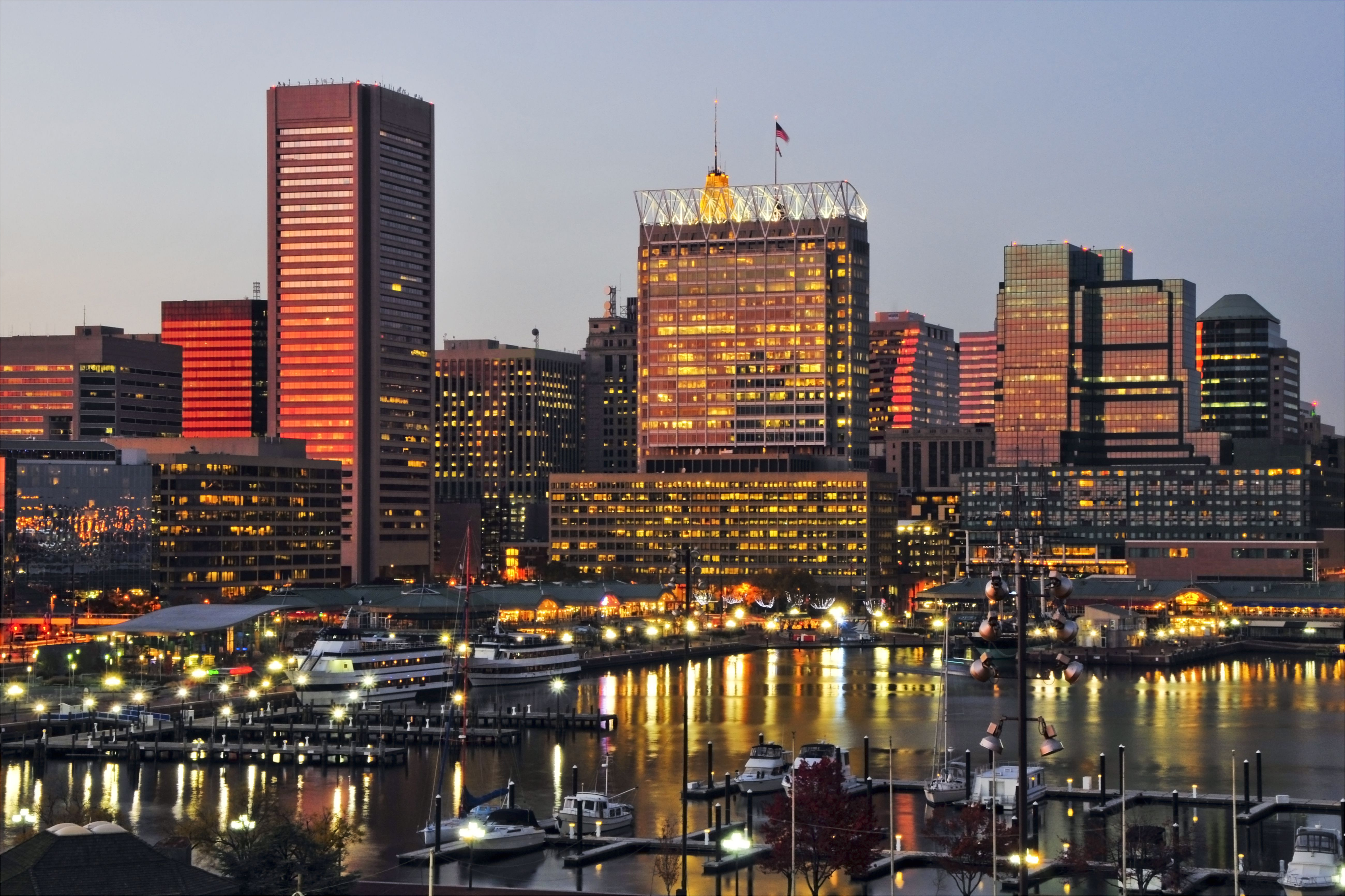 the sunset reflects off the windows of the baltimore city skyline at dusk maryland 112232760 5c0ea95d46e0fb000160fa96 jpg