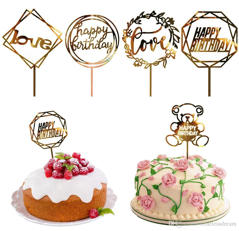 2019 50 styles cupcake cake topper happy birthday cake inserts cake top flags for love family birthday party baking decoration supplies from timelessdream