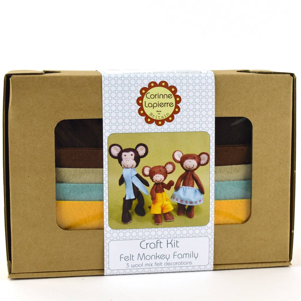 monkey family felt craft kit