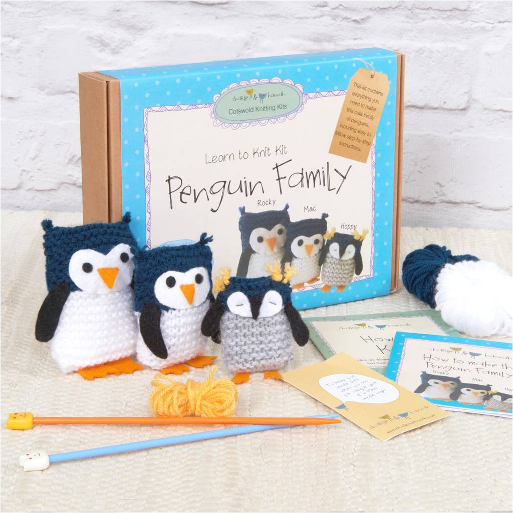 penguin family learn to knit kit