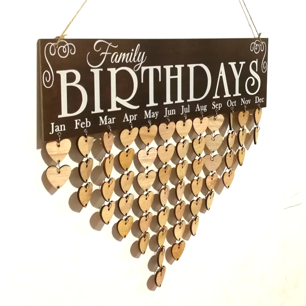 vorcool family birthday board plaque diy hanging wooden birthday reminder calendar with 50pcs wooden hearts amazon co uk kitchen home