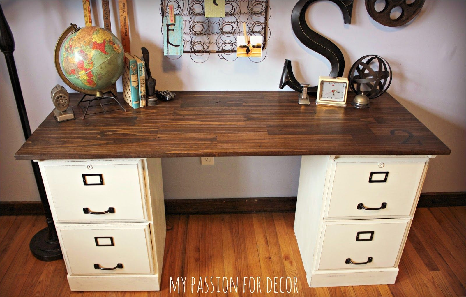 File Cabinet Desk Diy Pottery Barn Inspired Desk Using Goodwill Filing Cabinets In 2019