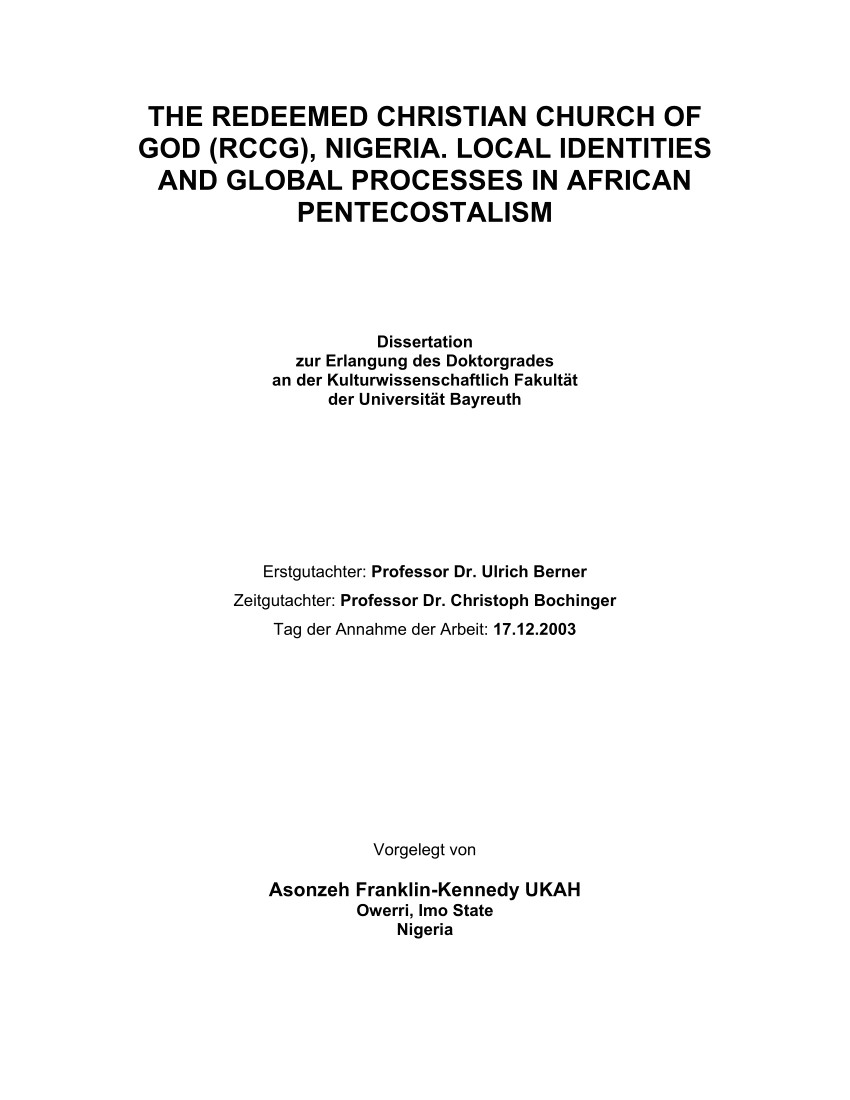 pdf the redeemed christian church of god rccg nigeria local identities and global processes in african pentecostalism