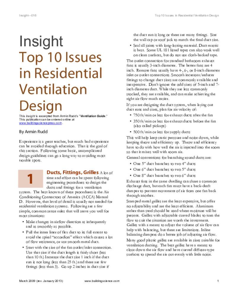 bsd 016 top ten issues in residential ventilation design