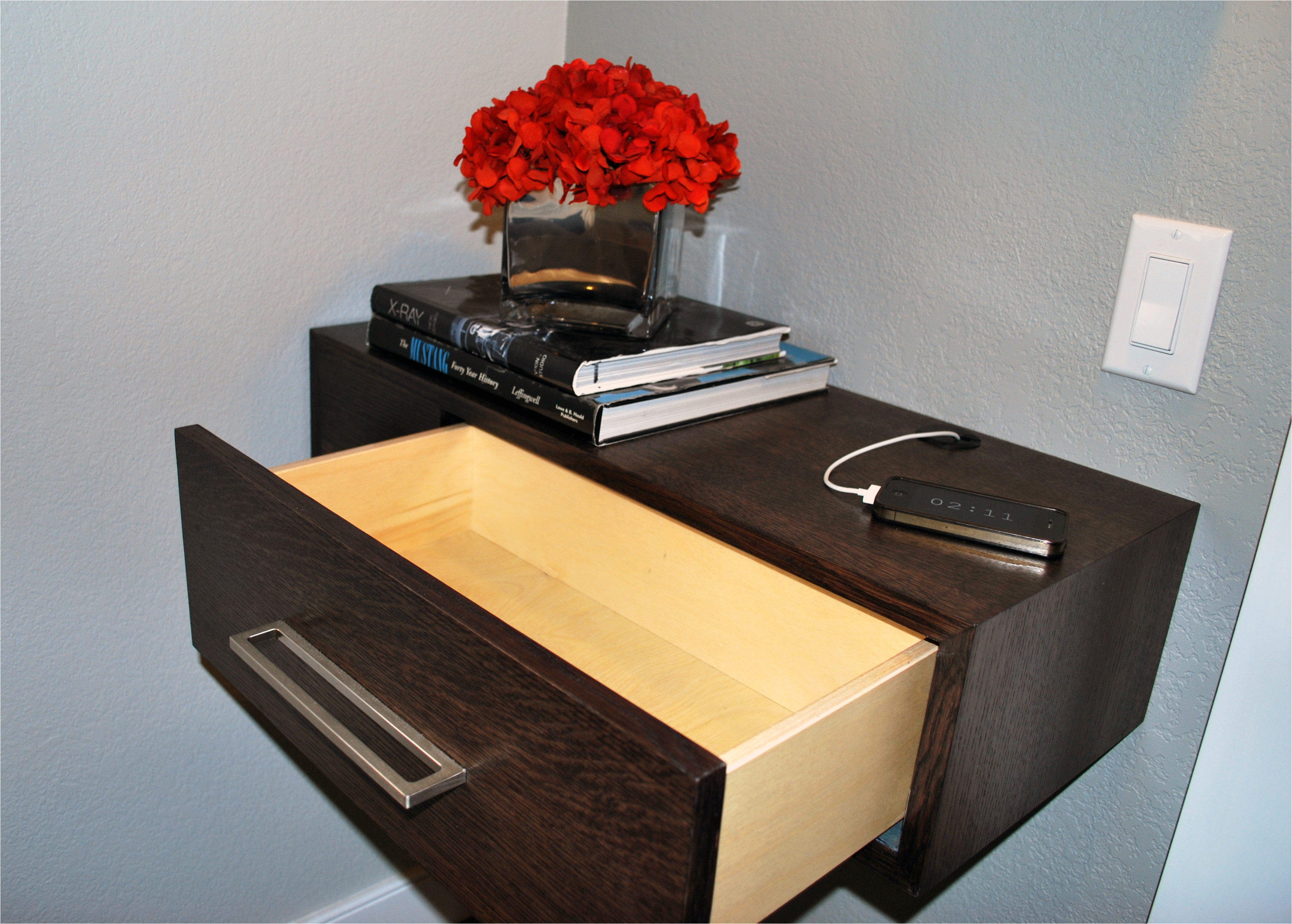 furniture inspiring design floating nightstand with drawer bring stained dark brown wooden desk light inside plus most awesome floating nightstand plans