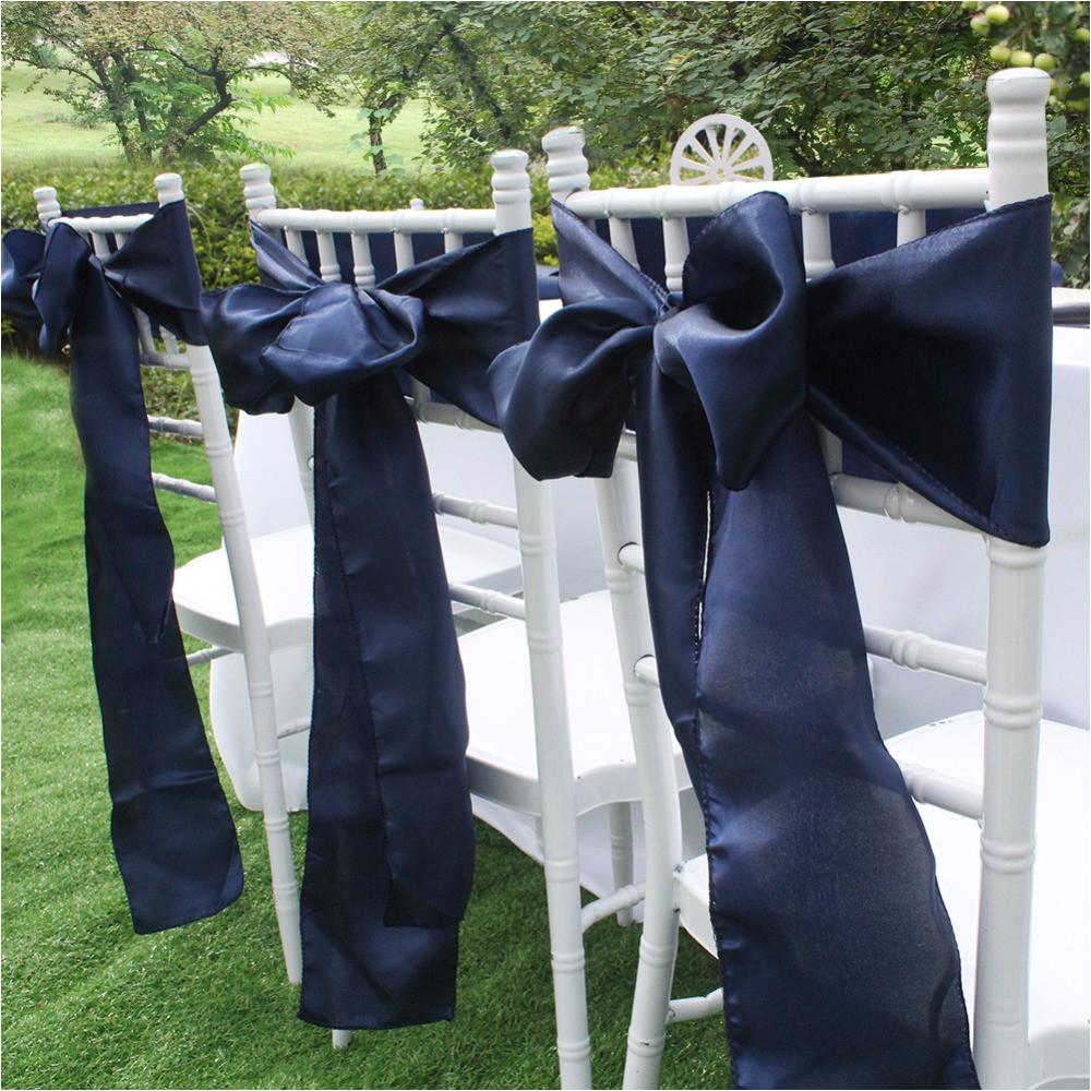 azul marino silla del saten fajas europa fundas para sillas para la fiesta de la boda banquete cena decoracia n textiles para el hogar en fajas de hogar y