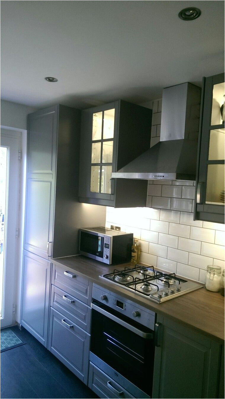 grey ikea bodbyn galley kitchen