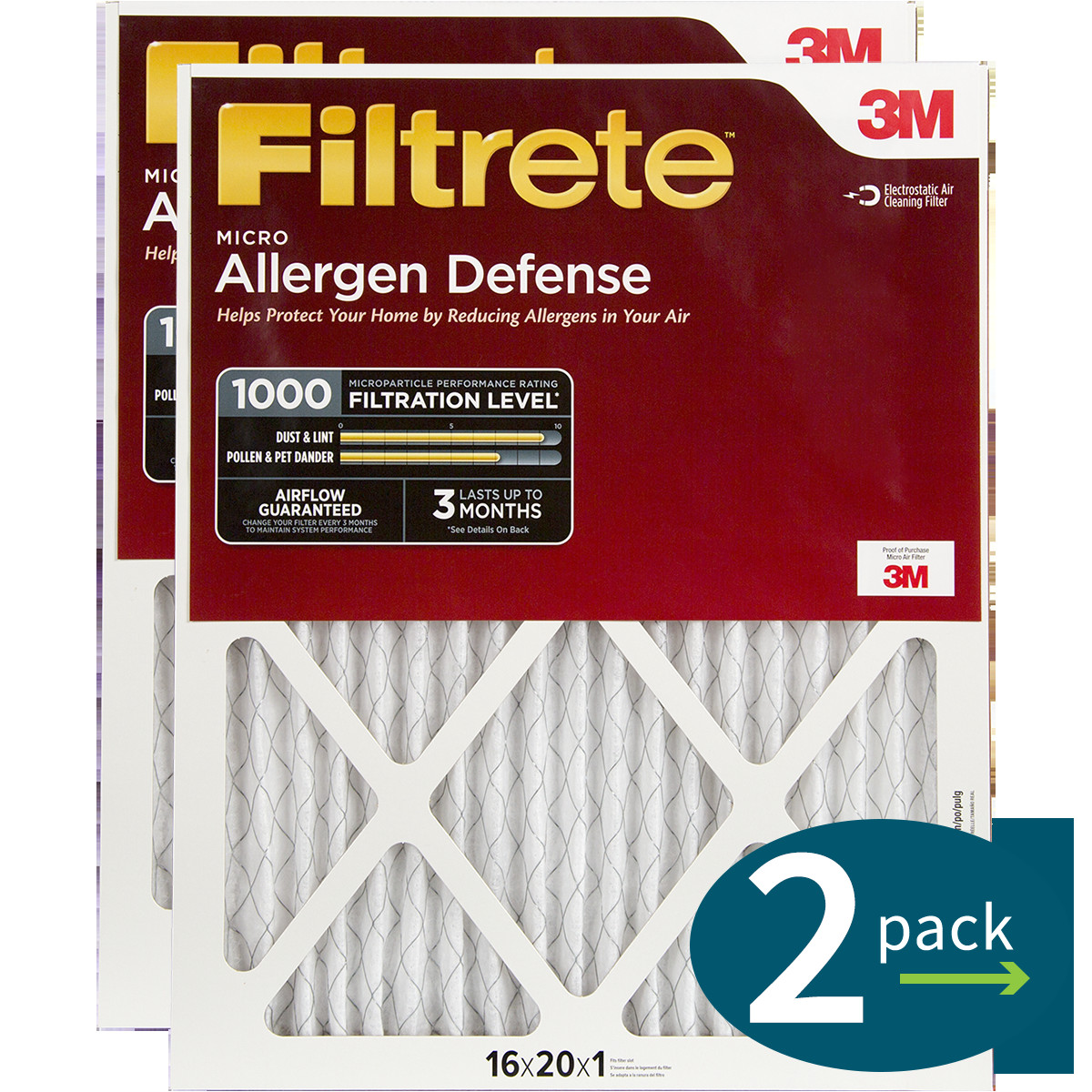 3m filtrete 1000 micro allergen defense filters 16x20x1 2 pack png