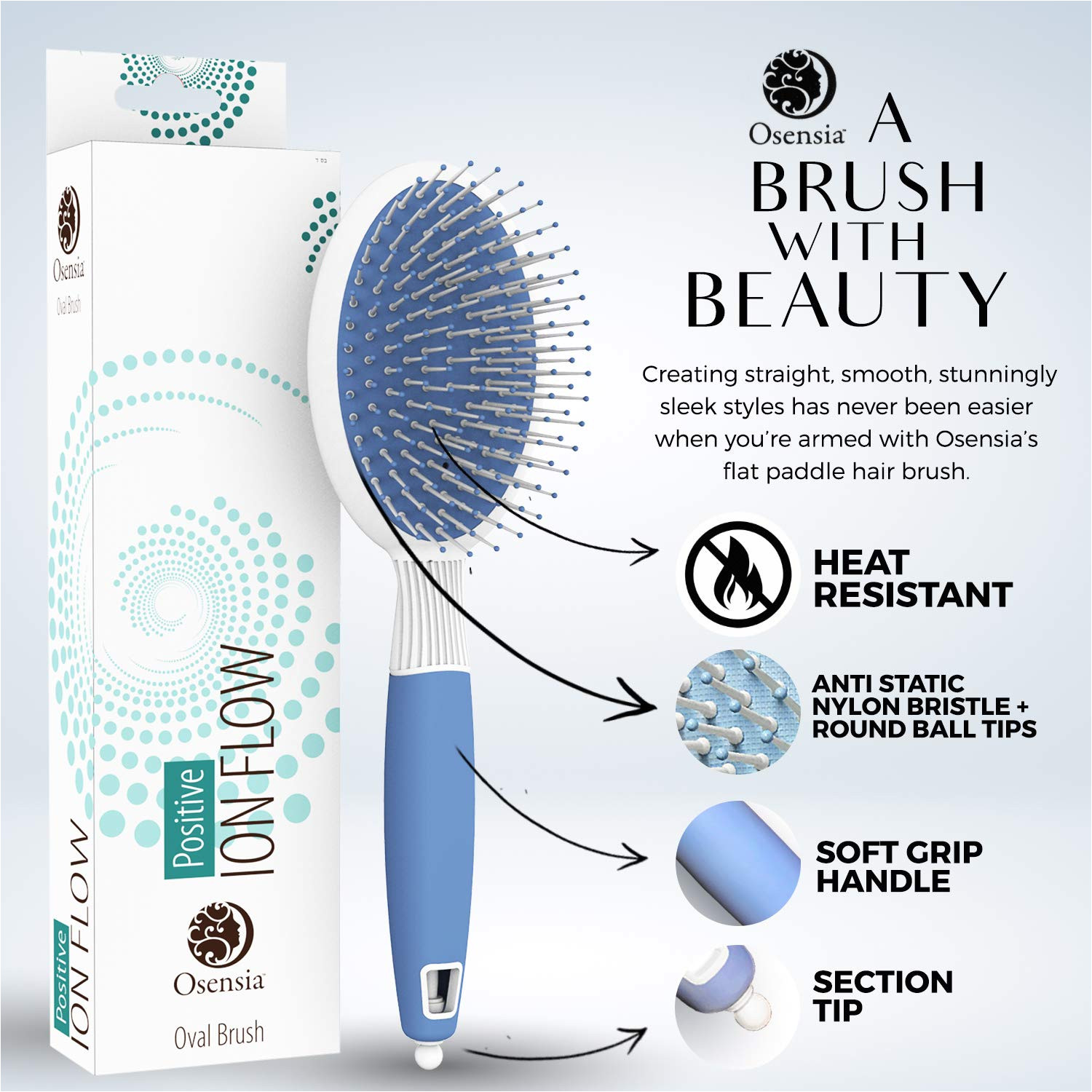 amazon com professional gentle detangler brush oval hair ionic brush with anti static nylon bristles for all hair types by osensia beauty