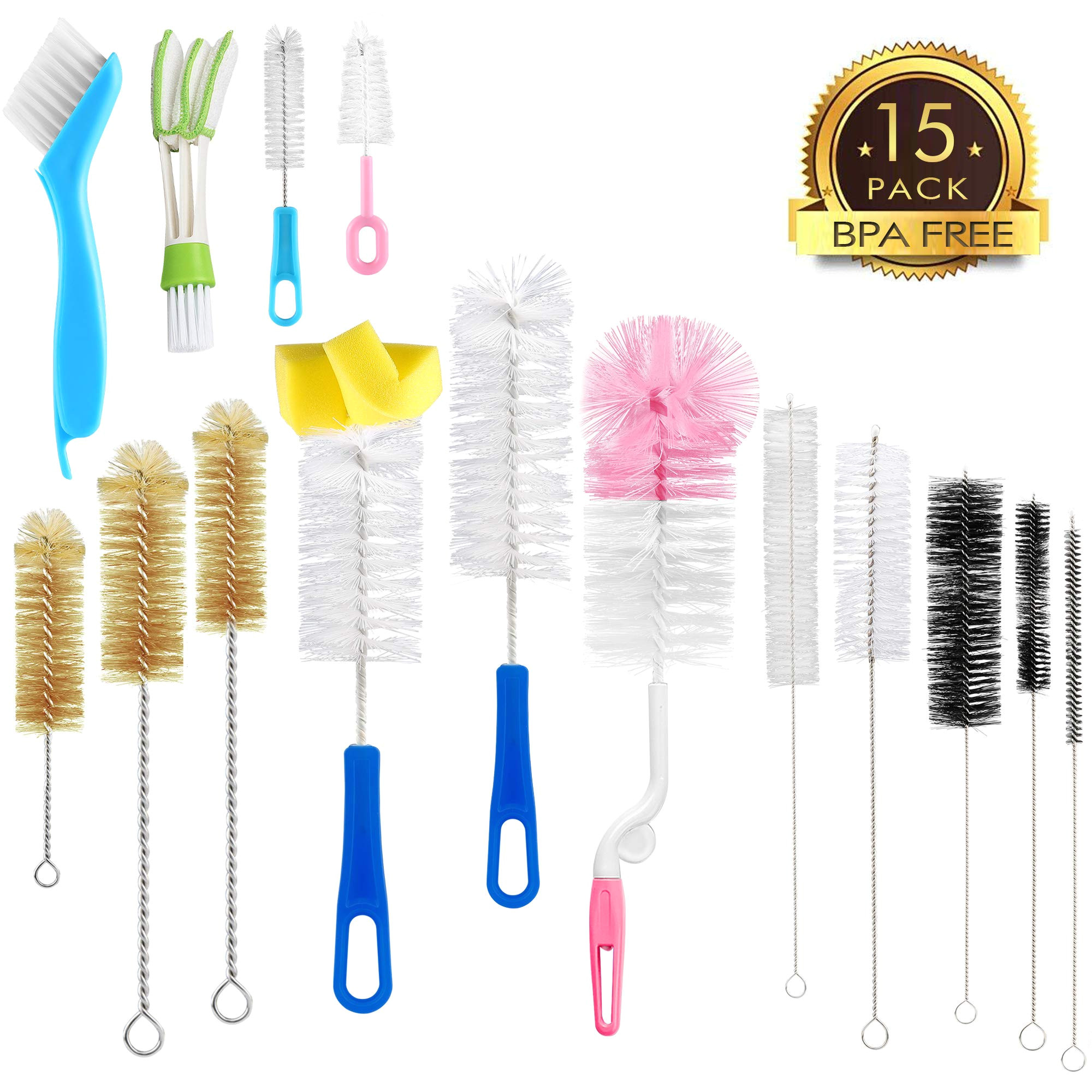 15pcs food grade multipurpose cleaning brush set lab cleaning brushes include straw brush