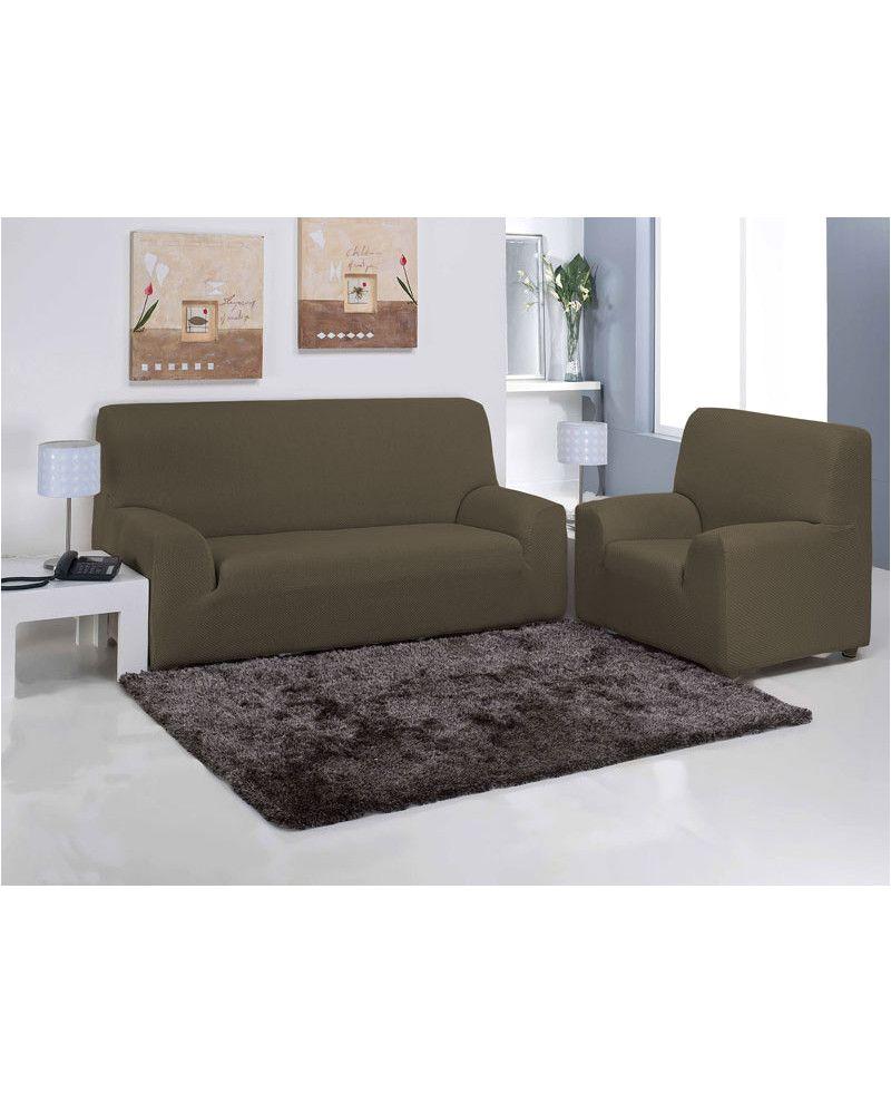 funda de sofa en color marra n para no cambiar el viejo sofa una funda moderna actual y que se ajusta perfectamente para renovar el sofa de forma barata