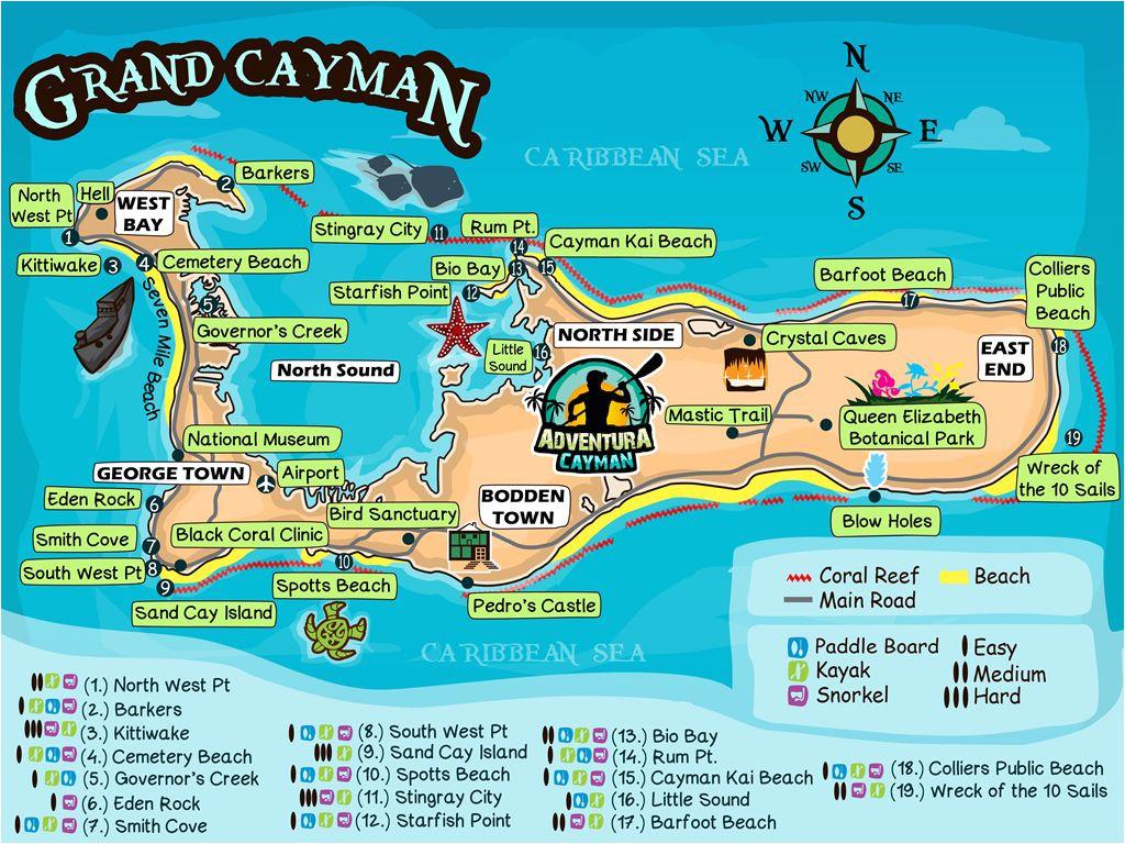 grand cayman map tour travel kayakrental bicyclerental vacation cayman grandcayman adventure snorkelgear snorkeling